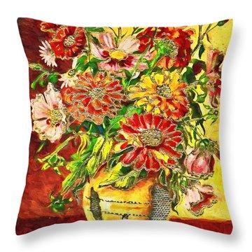 Vase Of Flowers Throw Pillow
