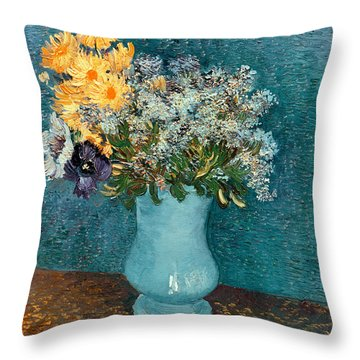 Vase Of Flowers Throw Pillow by Vincent Van Gogh