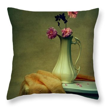 Vase Of Pink Roses Throw Pillow