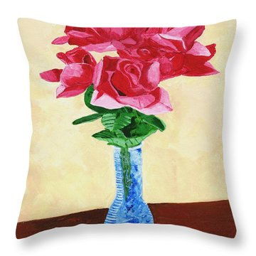 Throw Pillow featuring the painting Vase Of Red Roses by Rodney Campbell