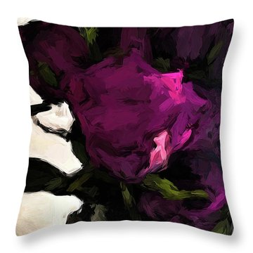 Vase Of Roses With Shadows 1 Throw Pillow