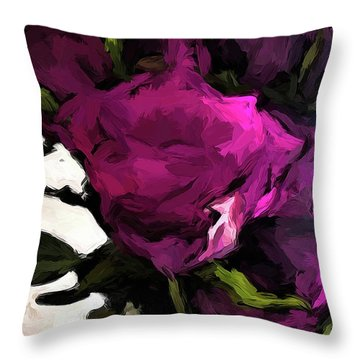Vase Of Roses With Shadows 2 Throw Pillow