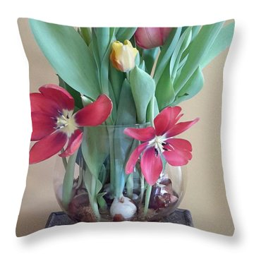 Vase Of Tulips Throw Pillow