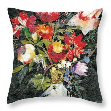 Vase With A Bird Throw Pillow by Nira Schwartz