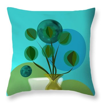 Vase With Bouquet Over Blue Throw Pillow