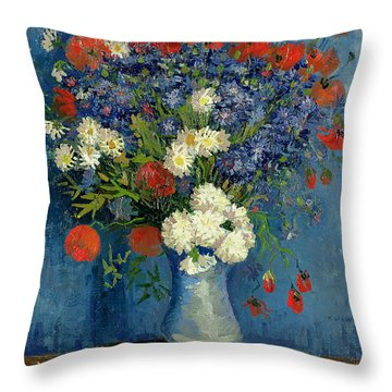 Vase With Cornflowers And Poppies Throw Pillow by Vincent Van Gogh
