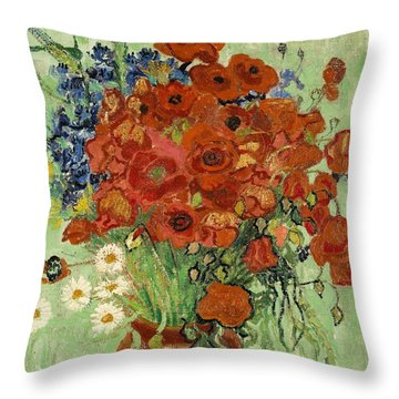 Throw Pillow featuring the painting Vase With Daisies And Poppies by Van Gogh
