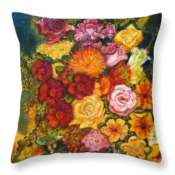 Vase With Flowers Throw Pillow