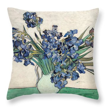 Throw Pillow featuring the painting Vase With Irises by Van Gogh