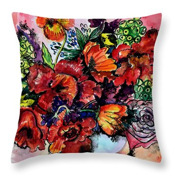 Vase With Poppies Throw Pillow