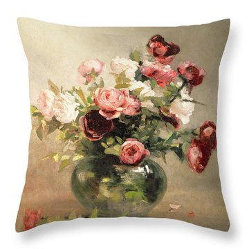 Vase With Roses Throw Pillow by Eva Gonzales