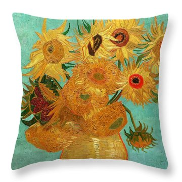 Throw Pillow featuring the painting Vase With Twelve Sunflowers by Van Gogh