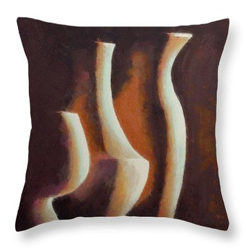 Throw Pillow featuring the painting Vases by Dragica  Micki Fortuna