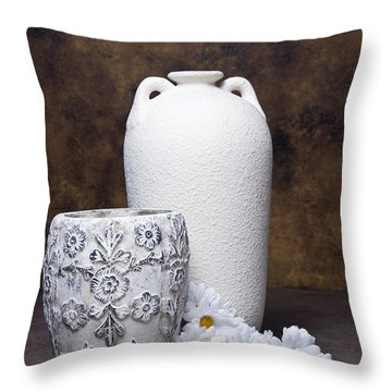 Vases With Daisies I Throw Pillow by Tom Mc Nemar