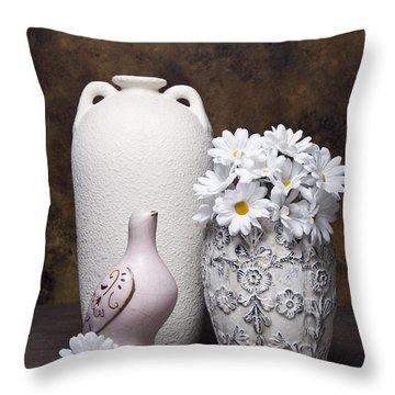 Vases With Daisies II Throw Pillow