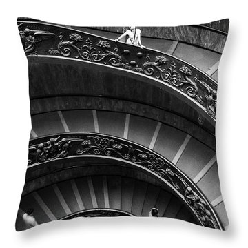 Throw Pillow featuring the digital art Vatican Stairs by Julian Perry