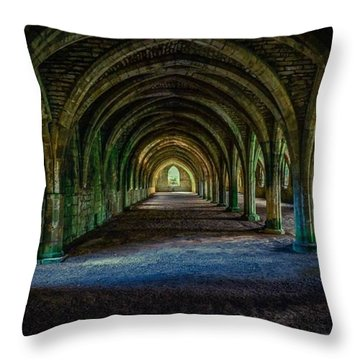 Vaulted, Fountains Abbey, Yorkshire, United Kingdom Throw Pillow