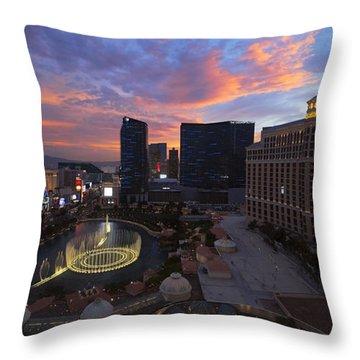Vegas By Night Throw Pillow