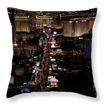 Vegas Night Lights Throw Pillow by Linda Phelps