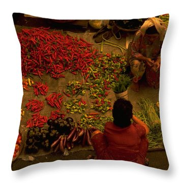 Vegetable Market In Malaysia Throw Pillow
