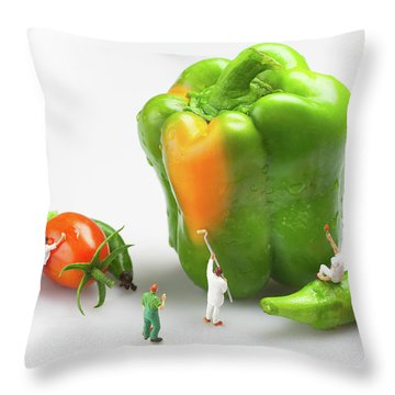 Throw Pillow featuring the painting Vegetable Painting Little People On Food by Paul Ge