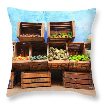 Throw Pillow featuring the photograph Veggies And The Blue Wall by Ramona Johnston