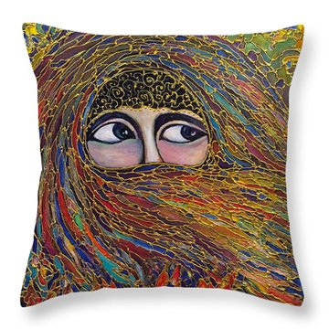 Throw Pillow featuring the painting Veiled by Rae Chichilnitsky