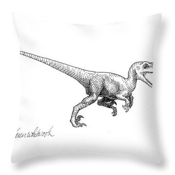 Velociraptor - Jurassic Dinosaur Science Illustration Black And White Contemporary Art Ink Drawing Throw Pillow