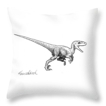 Velociraptor - Dinosaur Black And White Ink Drawing Throw Pillow by Karen Whitworth
