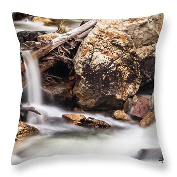 Velvet Falls - Rocky Mountain Stream Throw Pillow