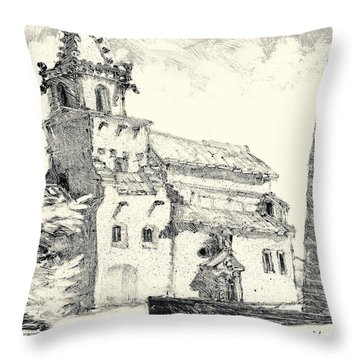 Throw Pillow featuring the painting Venasque Provence by Martin Stankewitz