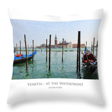 Throw Pillow featuring the digital art Venetia - At The Waterfront by Julian Perry