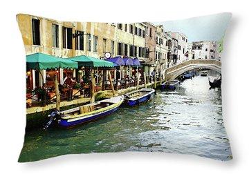 Venetian Cafes Throw Pillow by Ellen Henneke