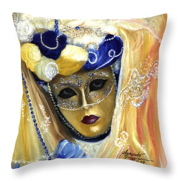 venetian carneval mask V Throw Pillow