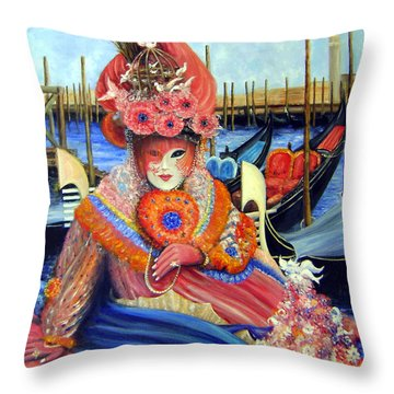Venetian Carneval Mask With Gondolas Throw Pillow