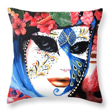 venetian carnevale mask III Throw Pillow