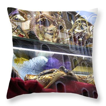 Venetian Carnival Reflections Throw Pillow
