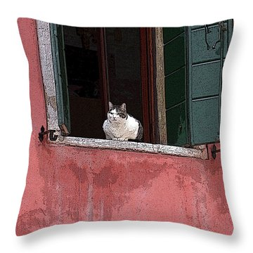 Venetian Cat In Window Throw Pillow