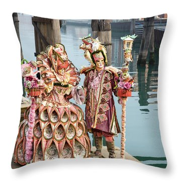 Venetian Couple Along The Canal Throw Pillow