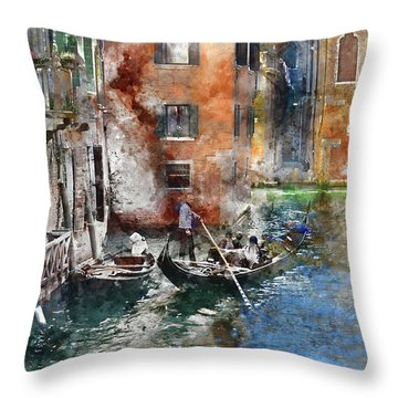 Venetian Gondolier In Venice Italy Throw Pillow