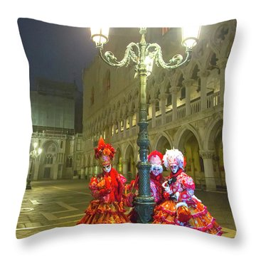 Venetian Ladies In San Marcos Square Throw Pillow