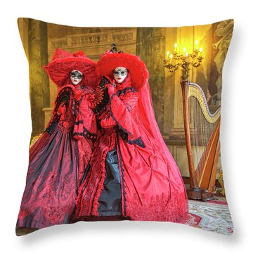 Venetian Ladies In The Palace Throw Pillow