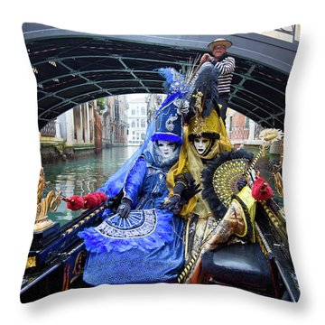 Venetian Ladies On A Gondola Throw Pillow