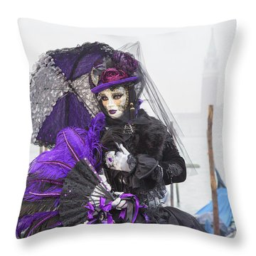Venetian Lady In Purple Throw Pillow