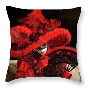 Venetian Lady In Red I  Throw Pillow