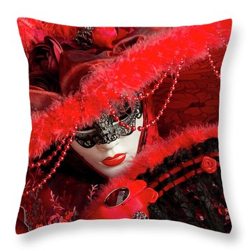 Venetian Lady In Red II  Throw Pillow