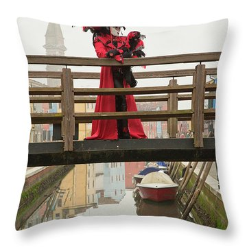 Venetian Lady On Bridge In Burano Throw Pillow