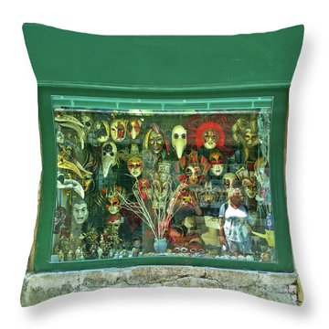 Throw Pillow featuring the photograph Venetian Masks by Anne Kotan