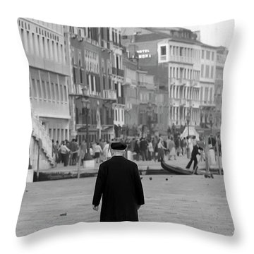 Venetian Priest And Gondola Throw Pillow