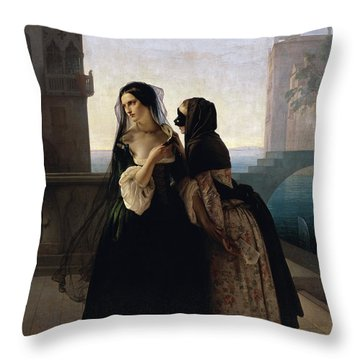 Throw Pillow featuring the painting Vengeance Is Sworn by Francesco Hayez